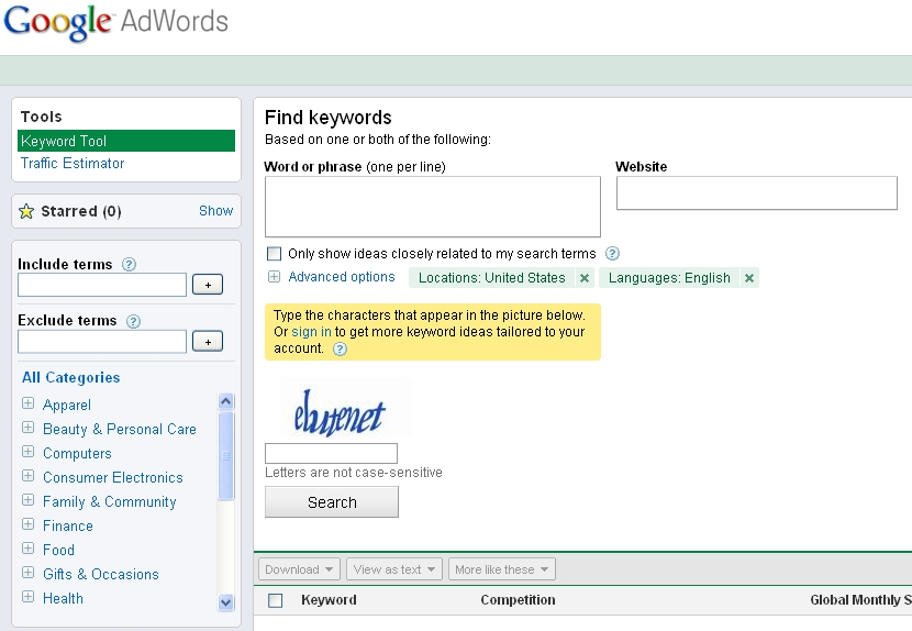 Google Keyword Tool for SEO – An introduction
