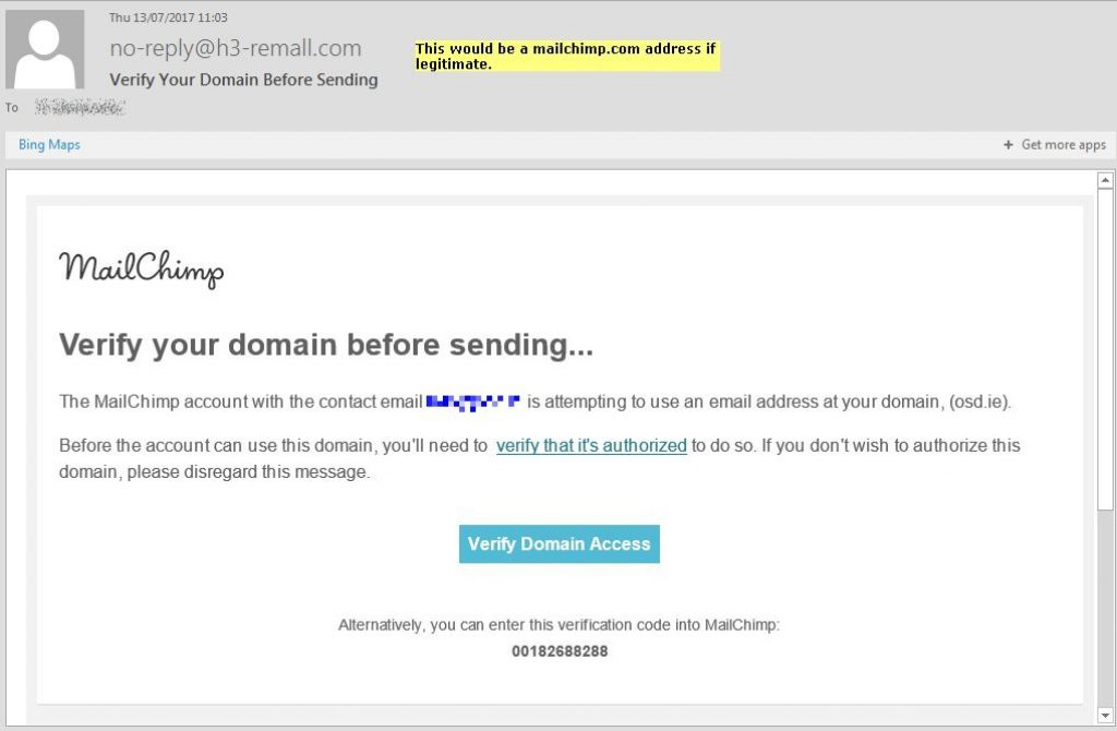 phishing attempt mailchimp