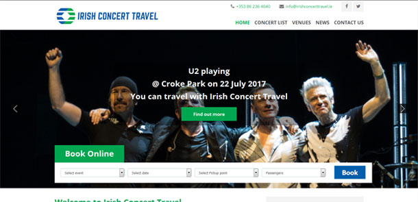 Irish Concert Travel Responsive Website & Ticketing System