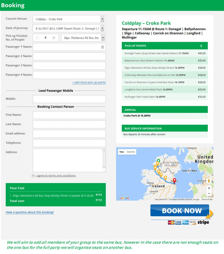 Irish Concert Travel, drivers front end booking form