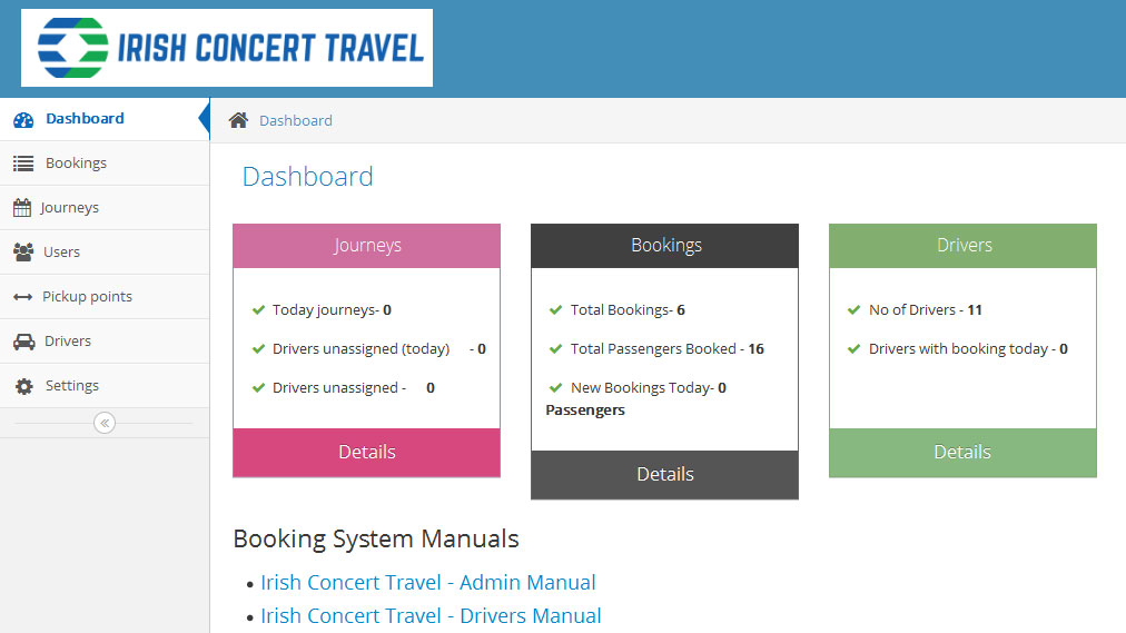 Irish Concert Travel, booking login dashboard