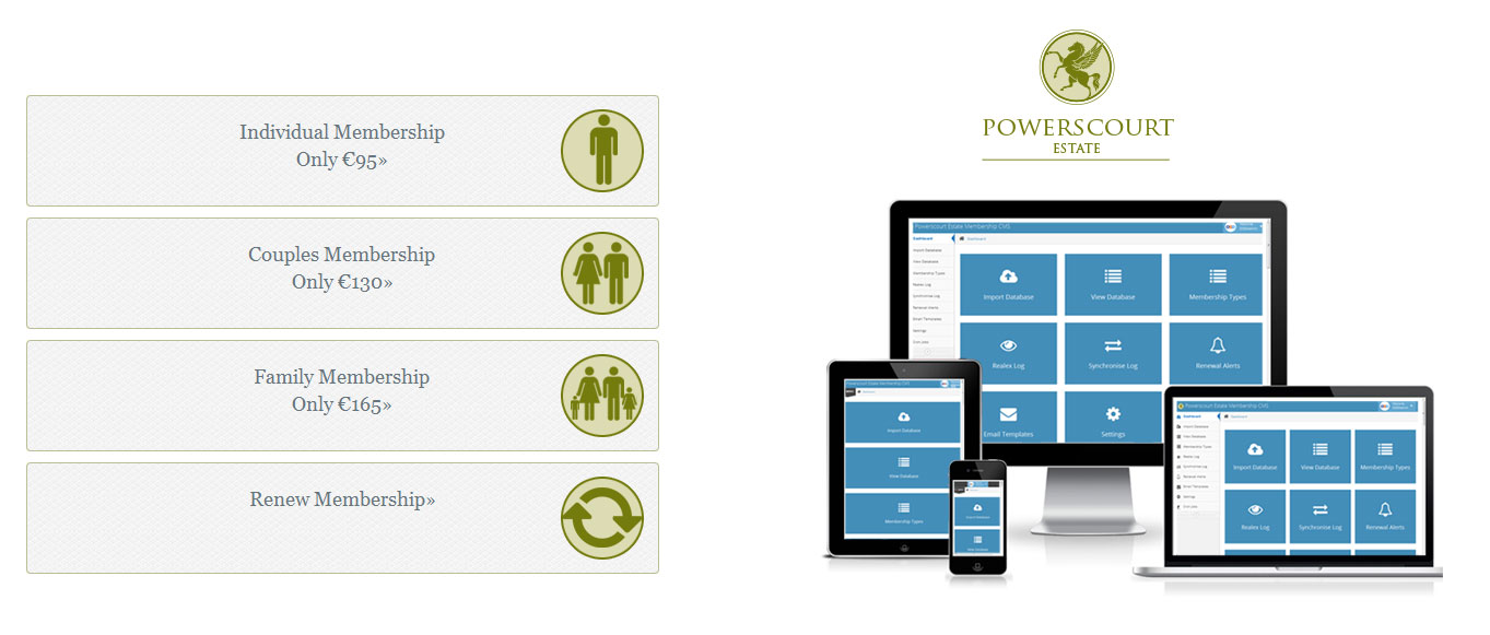 Powerscourt Estate Membership Booking Solution