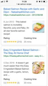 Rich Snippets Salmon Risotto Recipes on Mobile